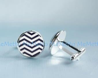 Navy White Stripe Cufflinks Blue Chevron Cufflinks Mathematics Lovers Wedding Cufflinks Gift Gifts for MEN Scientist Maths Groomsmen Gift