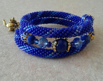 Beautiful bracelet blue and gold