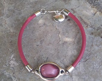 Bracelet leather and pink resin
