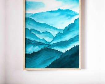 Blue Hills Landscape Print, Misty Forest Nature Wall Artwork, Abstract Scenery Framed 8x10 Painting, Calming Nursery Living Room Decor Art