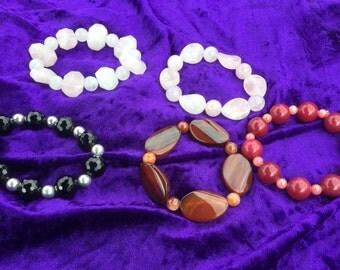 stretchy bracelets / genuine gemstones  / Rose Quartz /Quartzite / Agate / pink / red/ orange / black  & silver