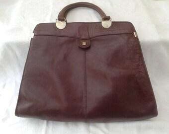 Retro Burgundy Leather Tote Bag