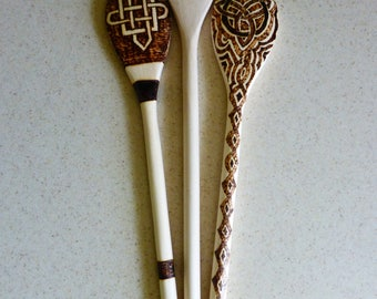 Wood Burned Wooden Spoons Trio: Celtic Knots