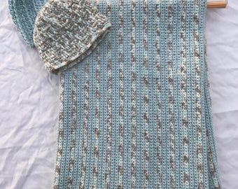 Crochet Baby Blanket and Hat Set