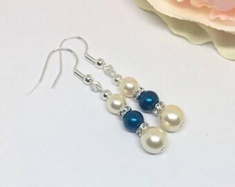 Blue Pearl Earrings, Cream and Blue Earrings, Elegant Earrings, Bridal Earrings, Bridesmaids Earrings, Dangle Earrings, Gift for Her