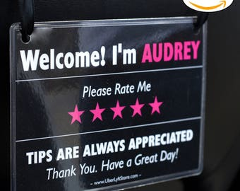 LYFT Personalized Tips & Ratings Signs (2 Pack), Increase Tips and 5 Star Ratings, Perfect Accessory for Rideshare, Headrest Display Cards