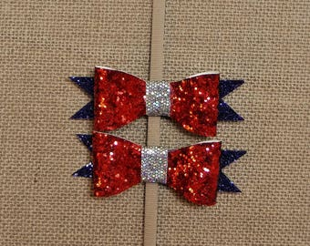 4th of July Clip in Bow Set
