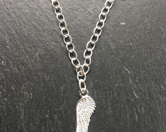 Sterling silver angel wing, butterfly or puffed heart pendant on sterling silver chain