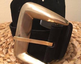 Wide black suede belt