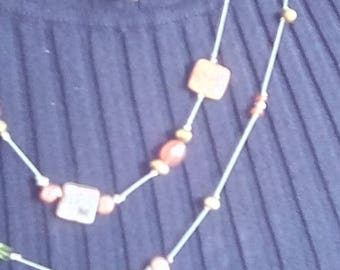 Hand tied carnelian, peridot, and lace agate necklace and earrings