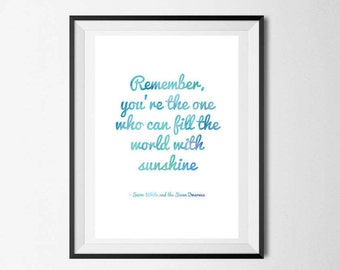 Fill The World With Sunshine, Quote poster, Disney Quote, Snow White, Home Decor, Wall Art, Instant Download, Printable, Motivational Poster