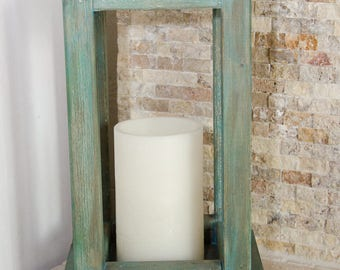 Rustic Wooden Lantern Indoor/Outdoor - Large - Pick your color