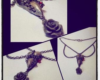 Gothic crow head necklace
