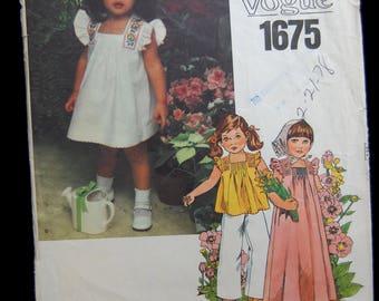 VOGUE PATTERN, sewing, vintage vogue, unused pattern, girls size 2, dress pattern, childrens Vogue pattern, girls dress pattern