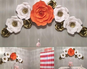 10pc Coral wall art, paper flowers