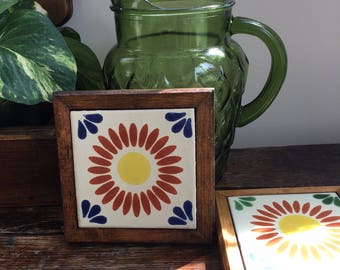 Vintage ceramic tile and wood coasters, Hand painted tile coasters