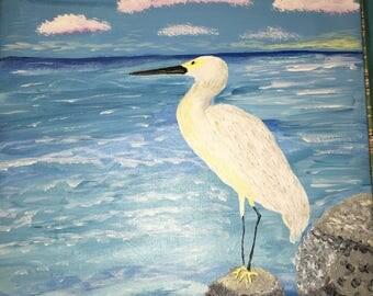 Egret on the Rocks