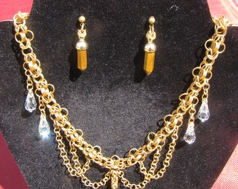 Tiger's Eye Chainmaille Jewelry Set