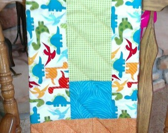 Dinosaurs, Flannel, Multi-Colors, Baby Quilt, Handmade