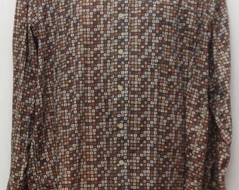 """90's Vintage """"NATURAL ISSUE"""" Long-Sleeve Pattern Shirt Sz: LARGE (Men's Exclusive)"""