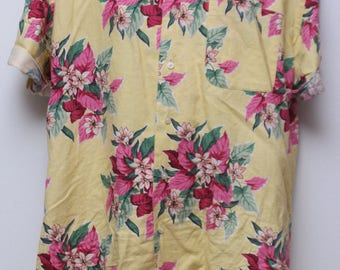"Rare 90's Vintage ""POLO By RALPH LAUREN"" Hawaiian Patterned Short-Sleeve Shirt Sz: Small (Men's Exclusive)"