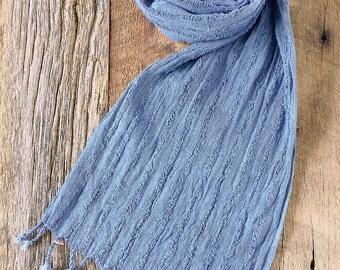 Indigo Dyed Cotton Scarf - Medium Blue - Style #1