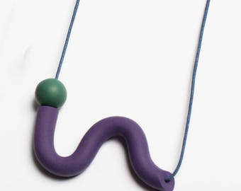 Purple and Green Squiggle Necklace