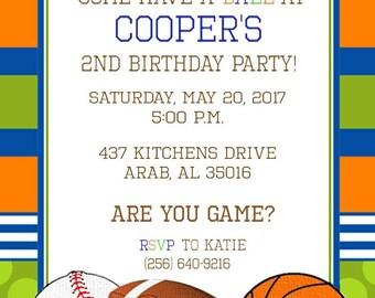 Sport's Fans Boy Birthday Invitation
