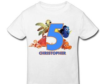 finding Nemo Birthday Shirt - Personalized Birthday T- shirtBirthday// 1st, 2nd, 3rd, 4th, 5th Birthday - Fast Shipping!