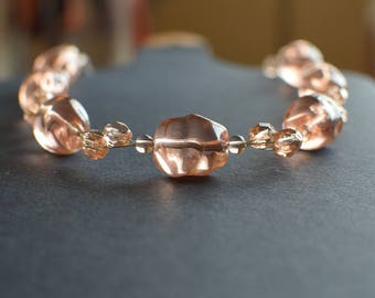 Pink glass pearls necklace