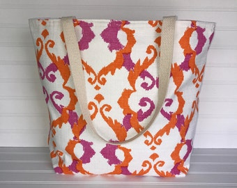 Handmade Everyday Tote | Market Bag |  Pink - Orange Geometric Tote