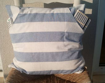 Cojín rayas marineras con bolsillos, cojines, cojín, pillows, decorative pillows, bolsillos, pockets