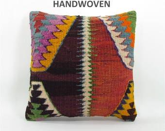 16x16 throw pillow decorative pillow kilim throw pillow cover boho throw pillow home decor AntiqueKilimPillows 000591