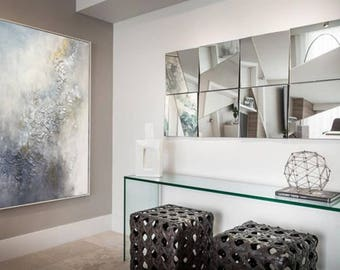 """Abstract Print Art Print On Canvas Wall Art Modern Art  Abstract Oil Painting """"Fiolet"""" Large Wall Art Original Painting by Julia Kotenko"""