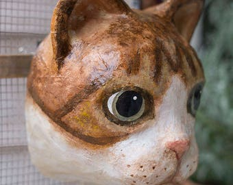paper mache, cat, head wall mount, home decor, animal  head, wall hanging