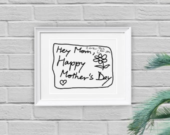 Mother's Day Print, Printable, Wall Art Print, Instant Download, 8 x 10, Last Minute, DIY, Happy Mother's Day, Drawing, Cool, Weird, Art
