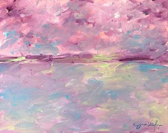16x20 Acrylic on Canvas.  Sunset over Green Island Sound. Savannah, GA