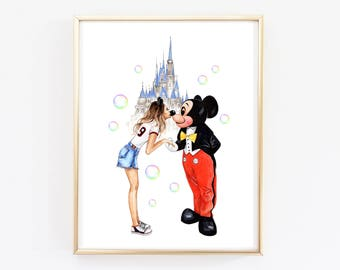 Disney wall art Disney castle art  Nursery wall art Disney painting Fashion print Disney watercolor Watercolor print Fashion girl art