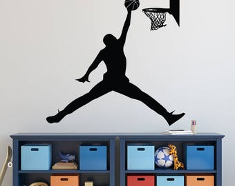 Michael Jordan Wall Decal   Basketball Wall Decal   Sports Decal   Jumpman  Boys Room Wall