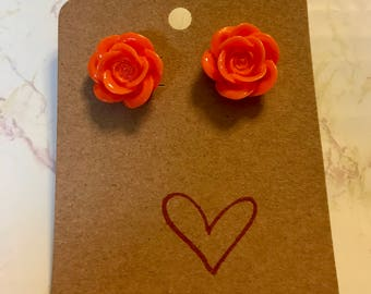 Orange Rose Post Earrings
