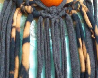 Macrame Upcycled Jersey Fabric Fringe Necklace with Vintage Wood Beads