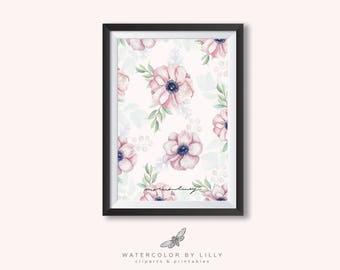 Watercolor Printable Anemone wall art