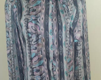Beautiful Multi-Colored Vintage Sophisticate Blouse, SIZE 4