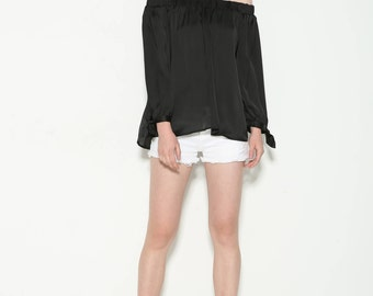 satin off shoulder top with tie at sleeves
