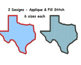 Texas Applique Design - 2 designs 6 sizes Applique + Fill Embroidery machine embroidery INSTANT DOWNLOAD
