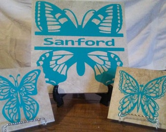 Personalize Butterfly Tile Set