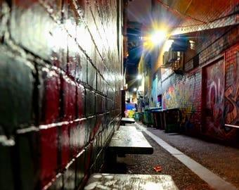 Croft Alley - Melbourne, Victoria, Australia, Street Art, Urban, Graffiti art, night photography, lane-ways, City, Fine Art Photography