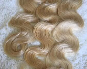 Brazilian Platinum Blonde 613 Bodywave Human Hair Extensions