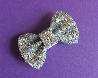 Silver glitter dog bow