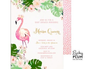 flamingo baby shower invitation tropical baby shower invitation luau baby shower invitation couples